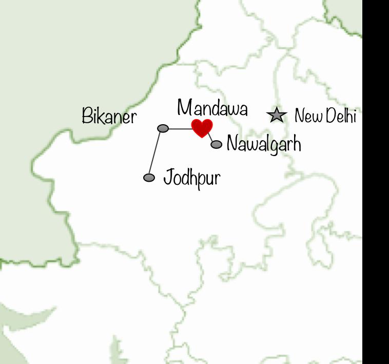 La région de Shekhawati est connue pour ses havelis : des grandes maisons marchandes colorées ! Découverte de Mandawa et Nawalgarh !